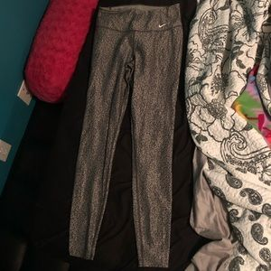 Grey leopard long crop Nike leggings